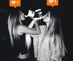 black and white, drinking, and grunge image