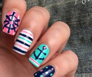 anchor, blue, and girly image