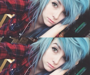 blue hair, scene, and dyed hair image