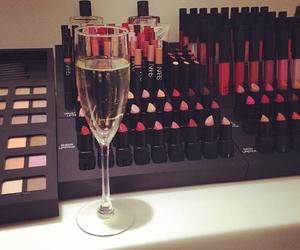 champagne, lipstick, and make up image