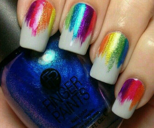 nails, rainbow, and white image