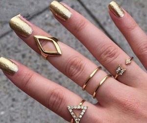 gold, nails, and fashion image