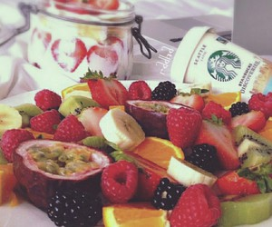 breakfast, colourful, and healthy fruits image
