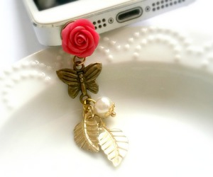 phone charm, polymer clay flower, and dust plug image