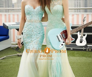 girls, long prom dresses, and ice blue prom dresses image