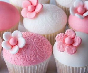 cupcake, pink, and cake image