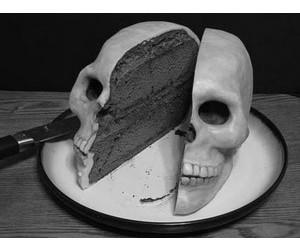cake, black, and bones image