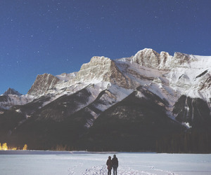 mountains, stars, and snow image