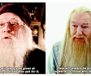 harry potter, dumbledore, and hogwarts image