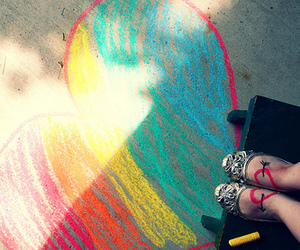 heart, chalk, and colorful image