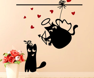 cat, wall decals, and home decor image