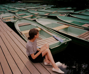 girl, boat, and vintage image