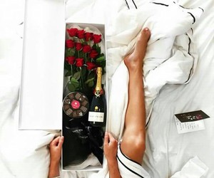 bed, rose, and champagne image