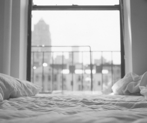 bed, window, and black and white image