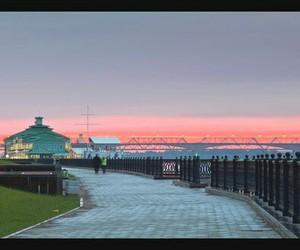 city, sunset, and embankment image