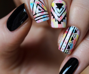 black, colorful, and triangles image