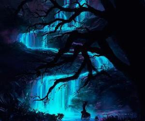 waterfall, blue, and night image
