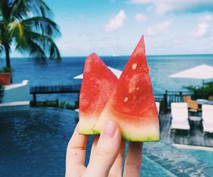 summer, watermelon, and beach image