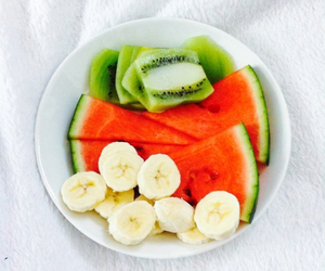 fruit, banana, and kiwi image