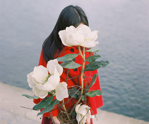 flowers, girl, and red image