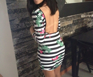 backless, striped, and dress image
