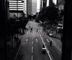 city, black and white, and street image