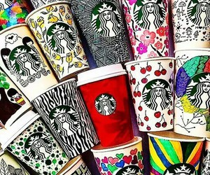 starbucks, coffee, and art image