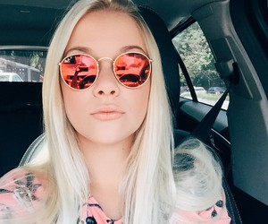 girl, blonde, and sunglasses image
