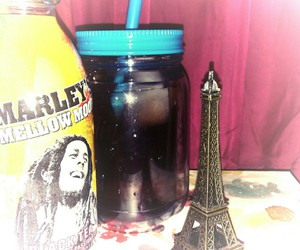 bob marley, drink, and eiffel tower image