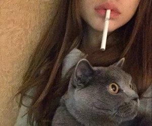 girl, cat, and smoke image
