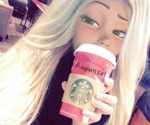 rapunzel, starbucks, and disney image