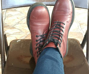 boots, doc martens, and burgundy image