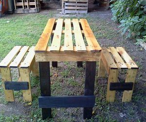 pallets garden table, pallets recycled table, and recycled wood table image