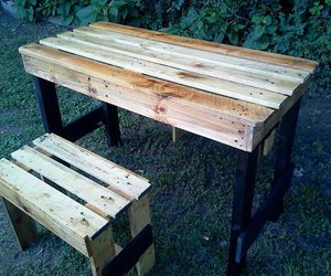 pallets garden table, garden table set, and pallets recycled table image