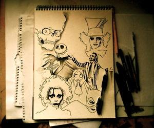 art, tim burton, and drawing image