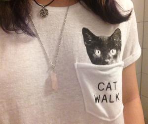 grunge pale soft, beautiful white shirt, and cat walk girl image