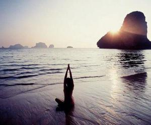 beach, yoga, and summer image