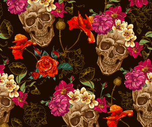 flowers, skull, and background image