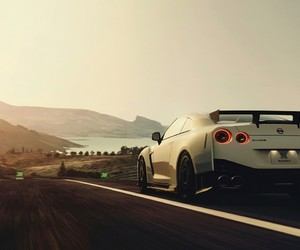 blanche, nissan gtr, and beau paysage image