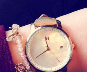 clock, pearl, and gold image