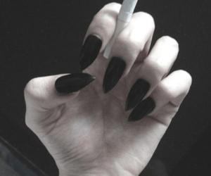 nails, tattoo, and cigarette image