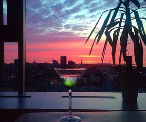 cocktail and sunset image