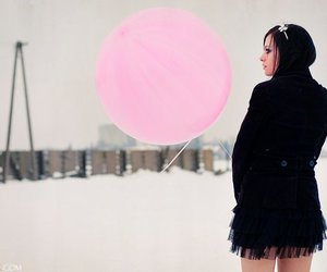 baloon, winter, and black image