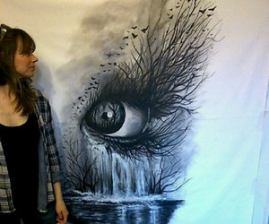 drawing, eyes, and forest image