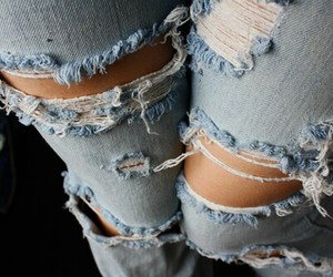 jeans, fashion, and ripped jeans image