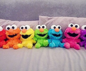 elmo, rainbow, and colors image