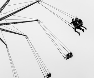 black and white, photography, and swings image