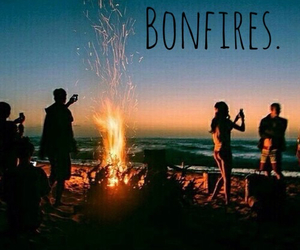 beach, bonfire, and chill image