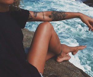girl, Tattoos, and waves image