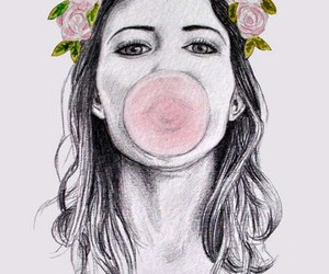 girl, drawing, and gum image